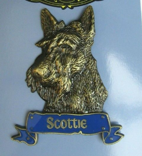 SCOTTIE MAGNET HEAVY DUTY METAL 3D ANTIQUE STYLE SCOTTISH TERRIER FRIDGE MAGNET